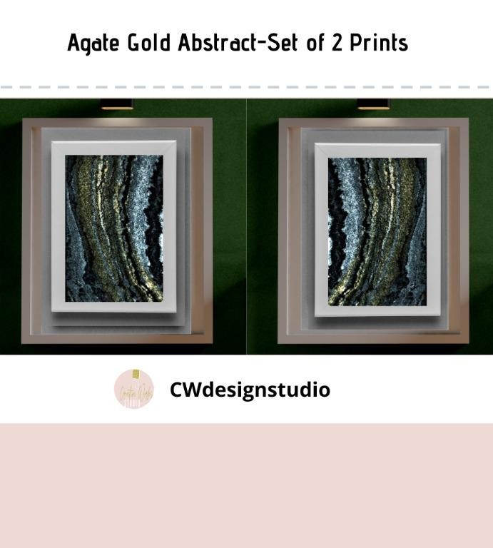 Agate Gold Abstract, Set of 2 Prints, Printable Digital File, Wall Art Print and Decor