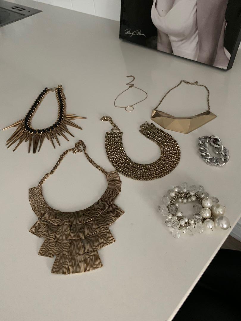 Aldo - 4 Gold Necklaces, 1 Gold Choker, 1 Pearl Bracelet, 1 Silver Bracelet all for $20
