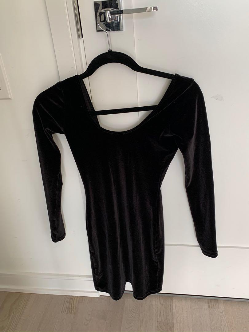 American Apparel Black Velvet Dress - Small