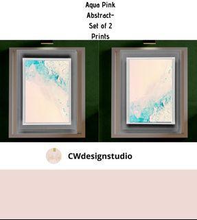 Aqua Pink Abstract, Set of 2 Prints, Printable Digital File, Wall Art Print and Decor