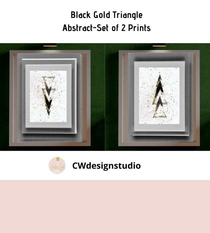 Black Gold Triangle Abstract, Set of 2 Prints, Printable Digital File, Wall Art Print and Decor