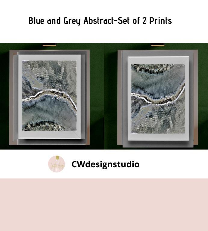 Blue and Grey Abstract, Set of 2 Prints, Printable Digital File, Wall Art Print and Decor