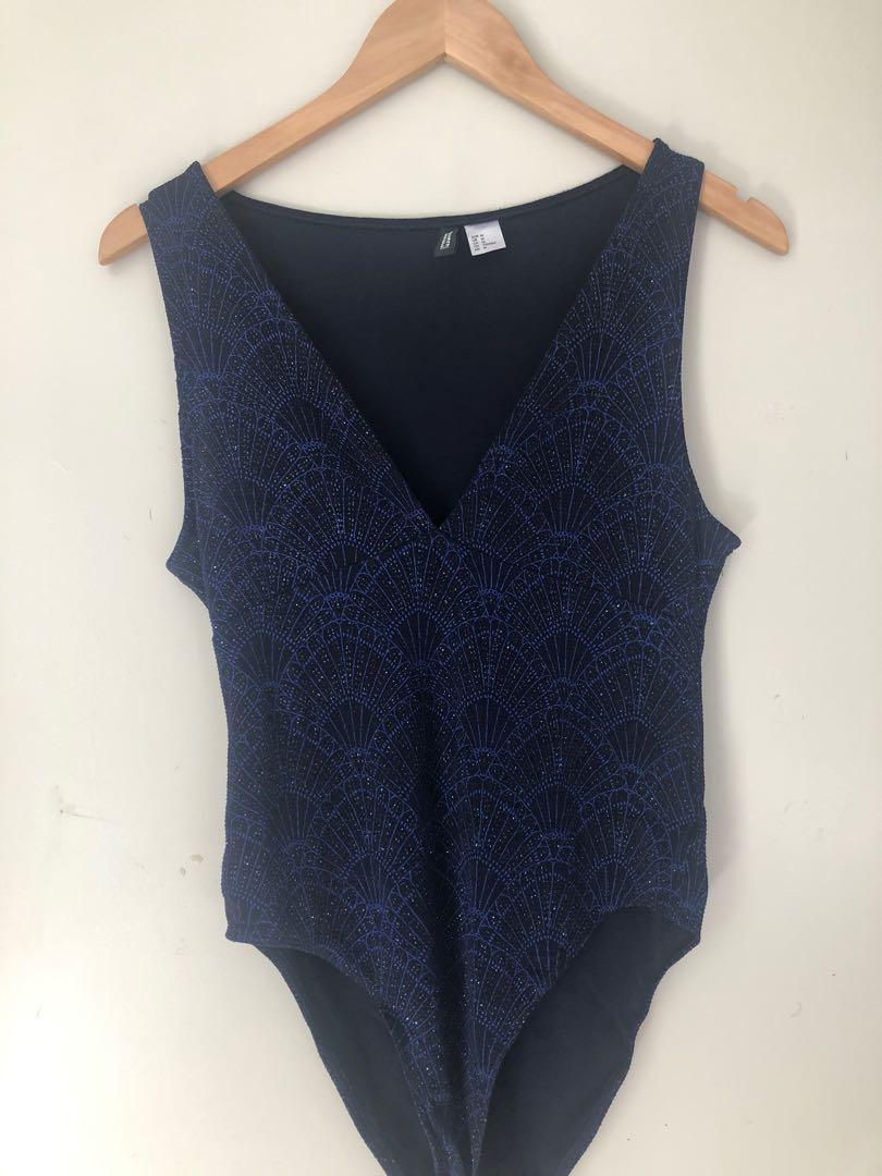 Blue deep v bodysuit