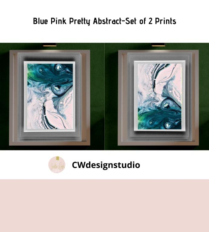 Blue Pink Pretty Abstract, Set of 2 Prints, Printable Digital File, Wall Art Print and Decor