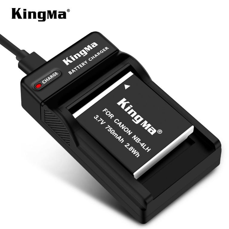 Canon NB-4LH battery charger kit, 1x 750mAh battery and single slot charger KingMa DC22/NB-4LH