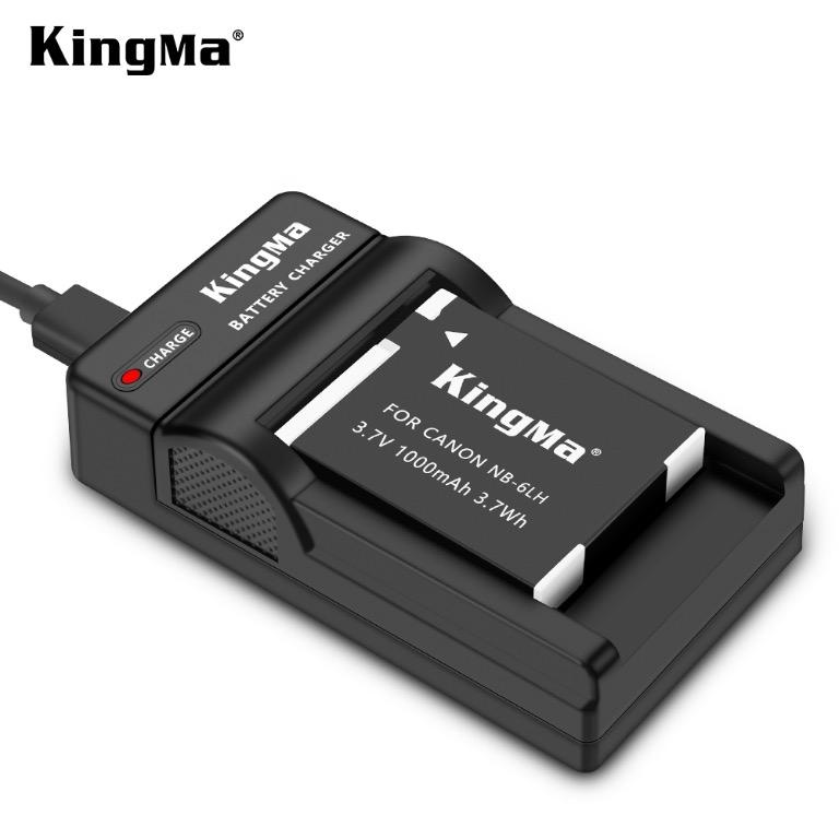Canon NB-6LH battery charger kit, 1X1000mAh battery with single slot charger by KingMa DC23/NB-6LH