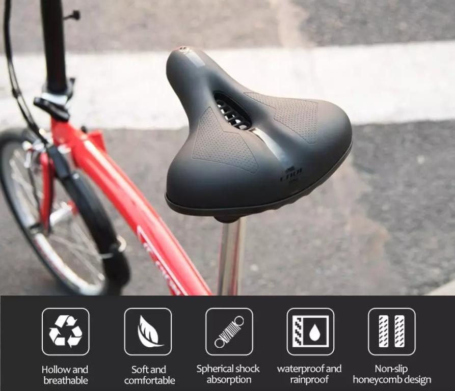 Bicycle Saddle PVC Waterproof Steel Hollow Comfortable Mountain Bike Seat