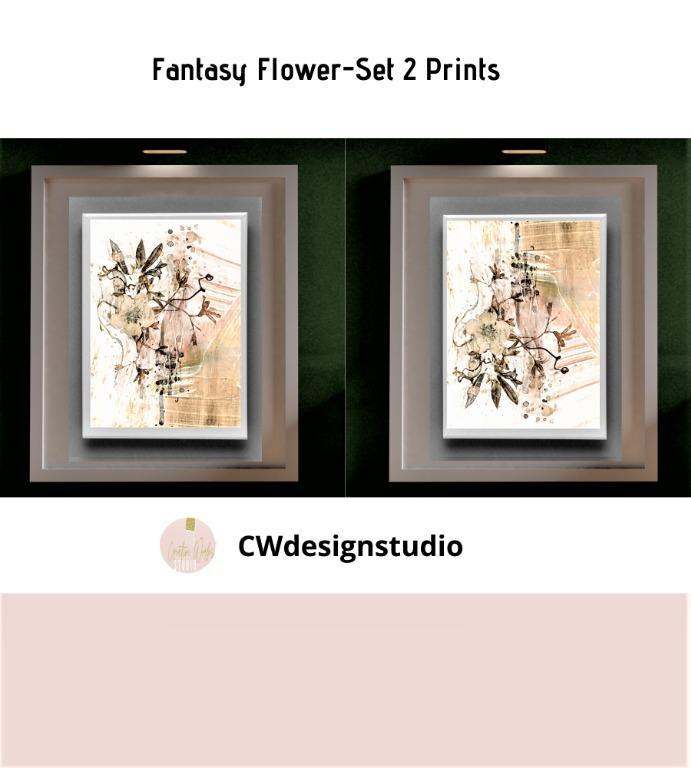 Fantasy Flower, Set of 2 Prints, Printable Digital File, Wall Art Print and Decor