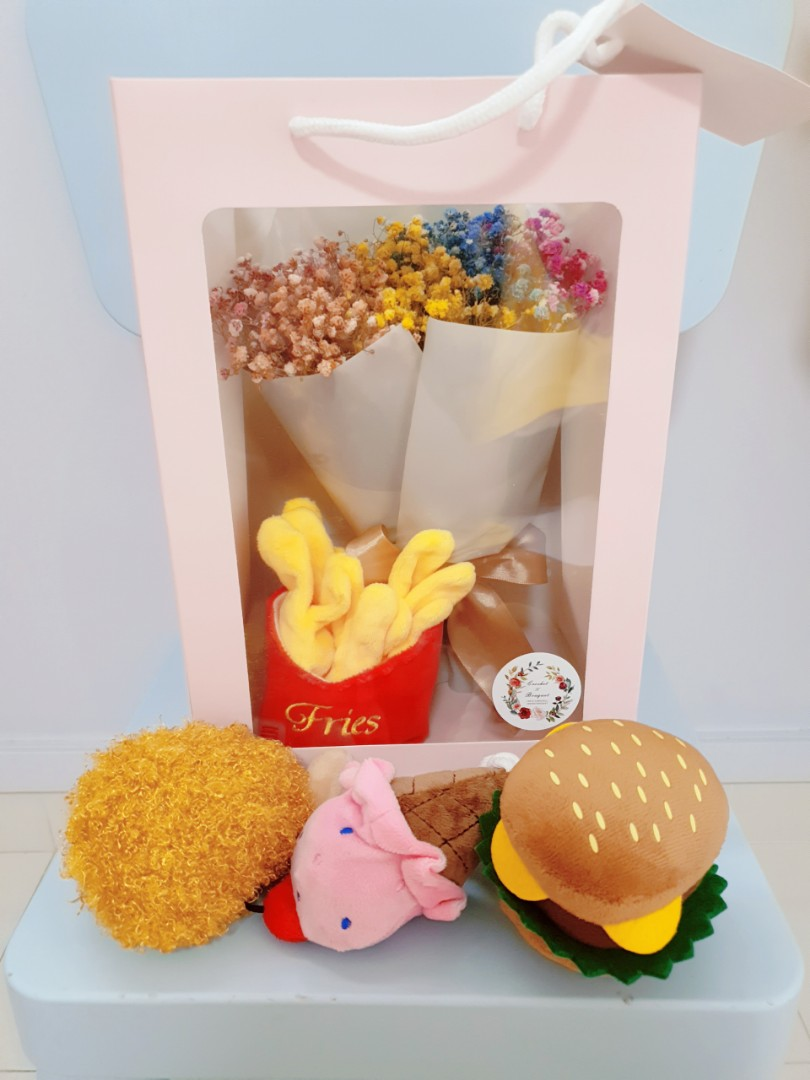 Fast Food Bouquet Set Chicken Wing Burger Ice Cream Fries Gardening Flowers Bouquets On Carousell