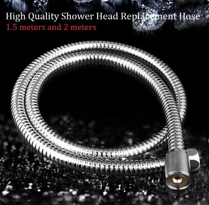Flexible Stainless Steel Chrome Standard Shower Head Bathroom Hose Pipe