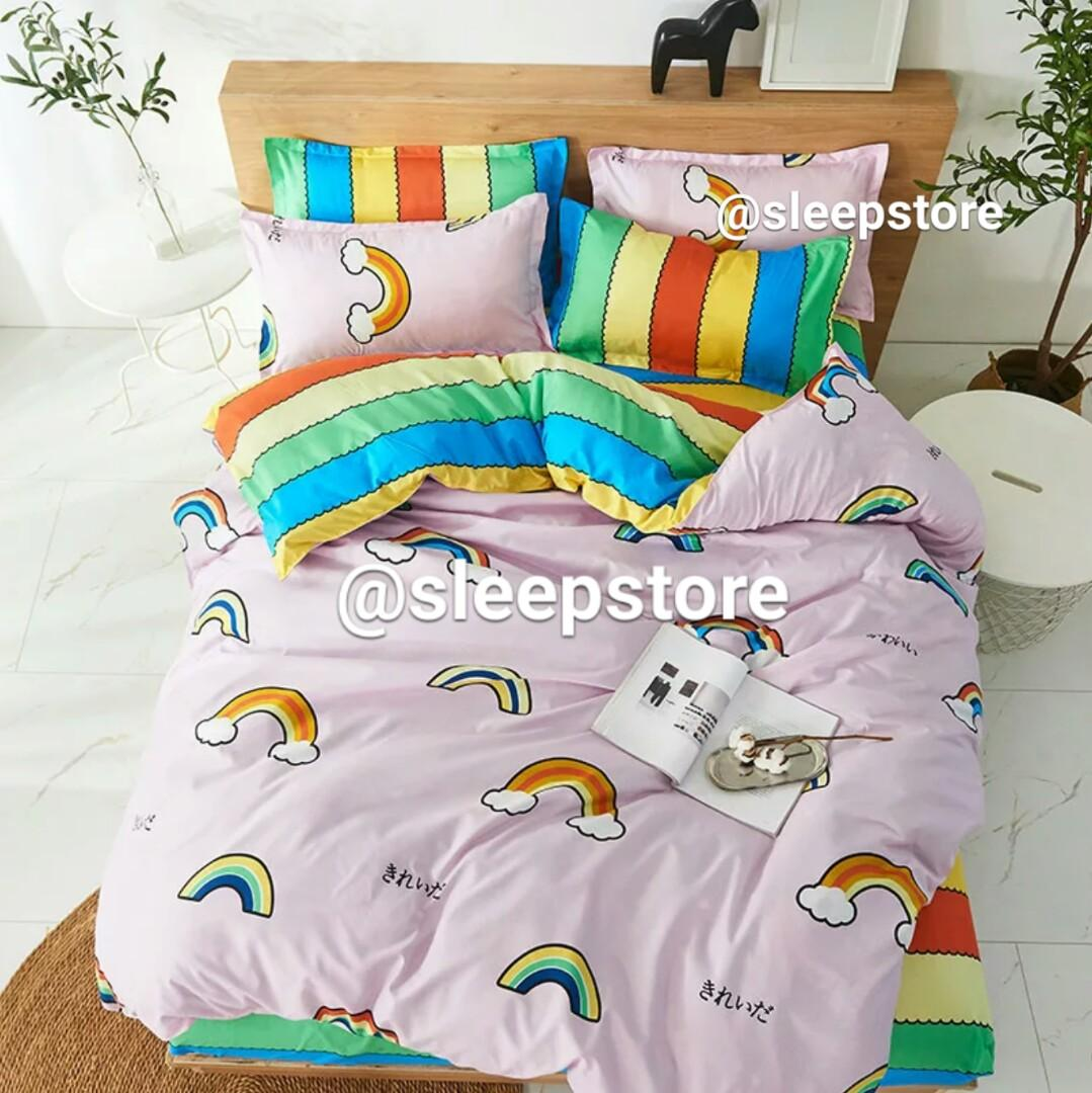 Free Delivery Pink Rainbow Kids Bedsheet Bed Set Cheap Sleepstore Furniture Home Decor Cushions Linen On Carousell