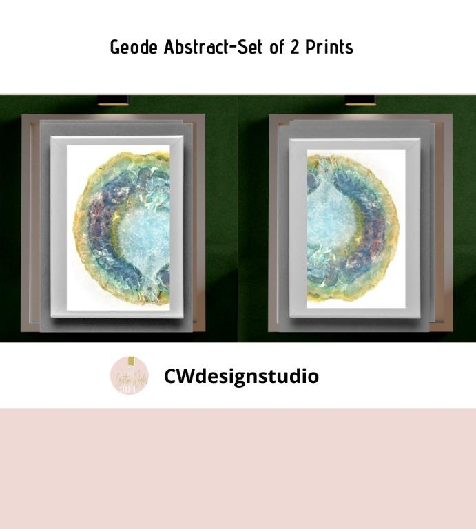 Geode Abstract, Set of 2 Prints, Printable Digital File, Wall Art Print and Decor