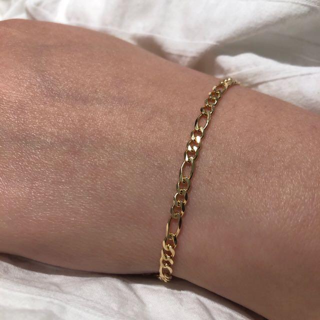 Gold filled figaro chain bracelet 3mm