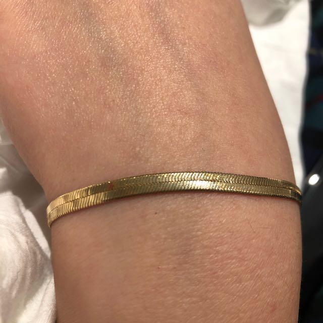 Gold filled herringbone chain bracelet 4mm width