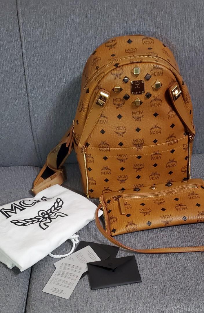 Mcm Small Dual Stark Cognac Backpack