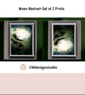 Moon Abstract. Set of 2 Prints, Printable Digital File, Wall Art Print and Decor