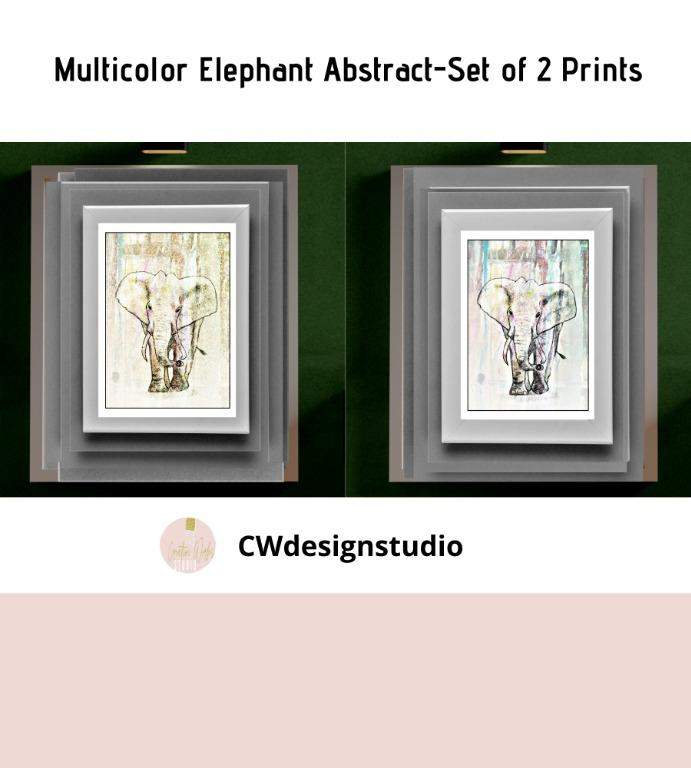 Multicolor Elephant Abstract, Set of 2 Prints, Printable Digital File, Wall Art Print and Decor