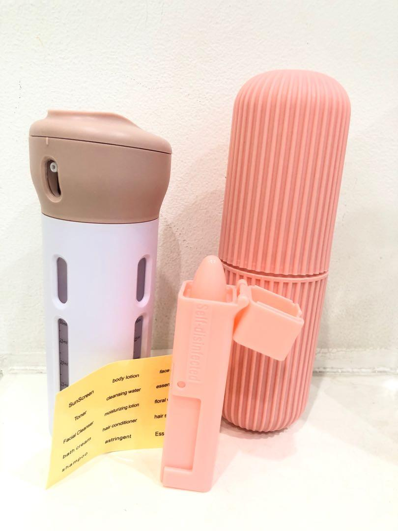 New set : portable 4 bottles in 1 +self disinfected tube and tube storage