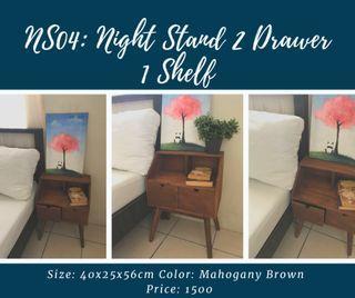 Nightstand Side Bedroom Storage 2 Drawer and Shelf Bedside End Table
