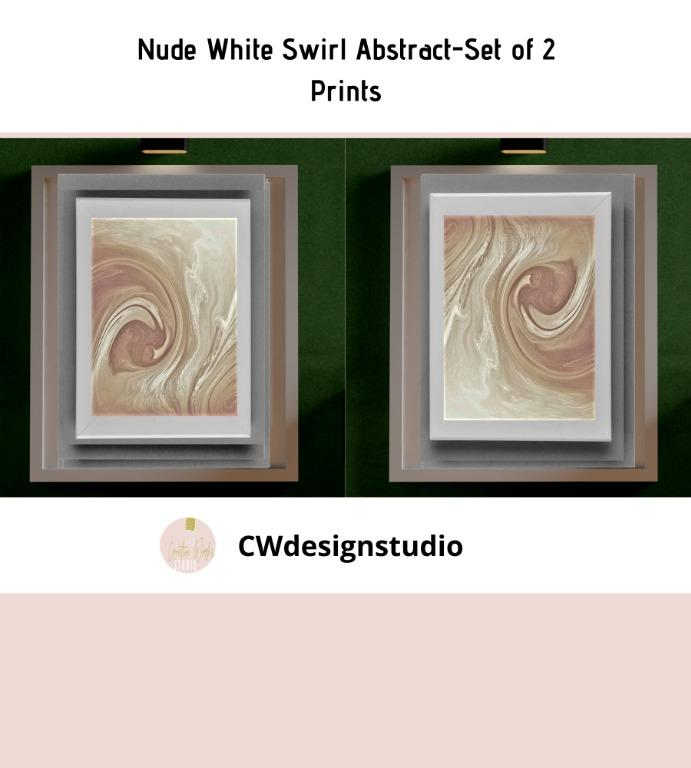 Nude White Swirl Abstract, Set of 2 Prints, Printable Digital File, Wall Art Print and Decor