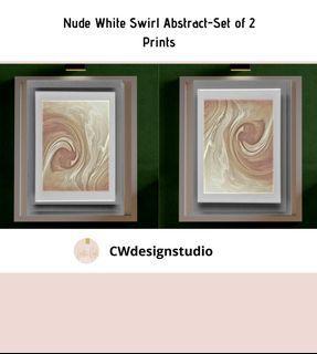 Nude White Swirl Abstract, Set of 2 Prints, Printable Digital File, Wall Art Print and Decor