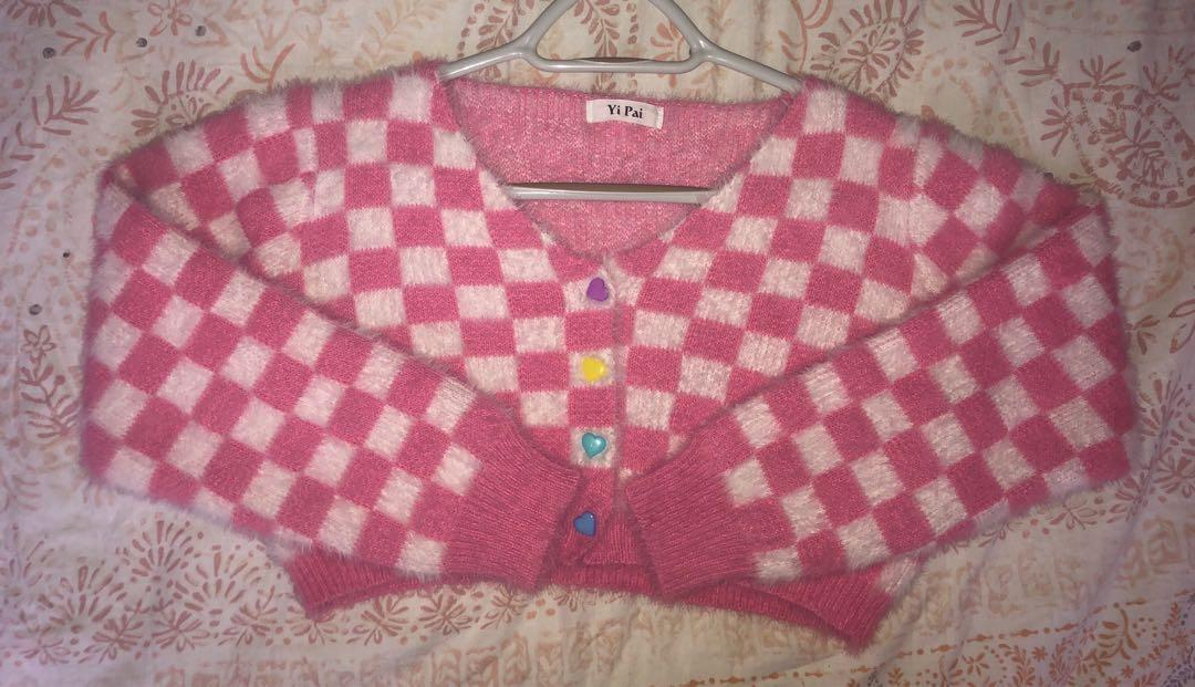 Pink checkered fluffy mini cropped cardigan