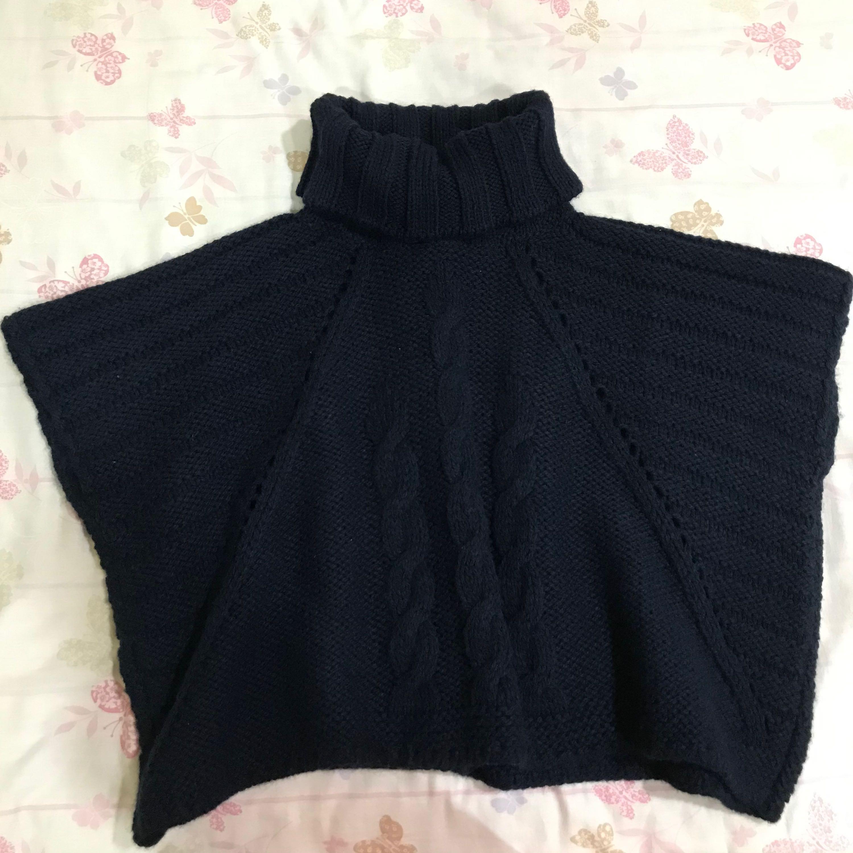 Roberta諾貝達藍色針織毛衣斗篷上衣