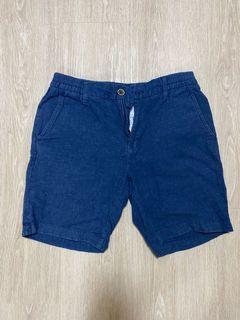 《SPAO》亞麻丹寧藍彈性短褲 170/78A