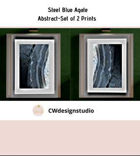 Steel Blue Agate Abstract, Set of 2 Prints, Printable Digital File, Wall Art Print and Decor