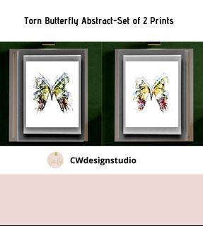 Torn Butterfly Abstract, Set of 2 Prints, Printable Digital File, Wall Art Print and Decor