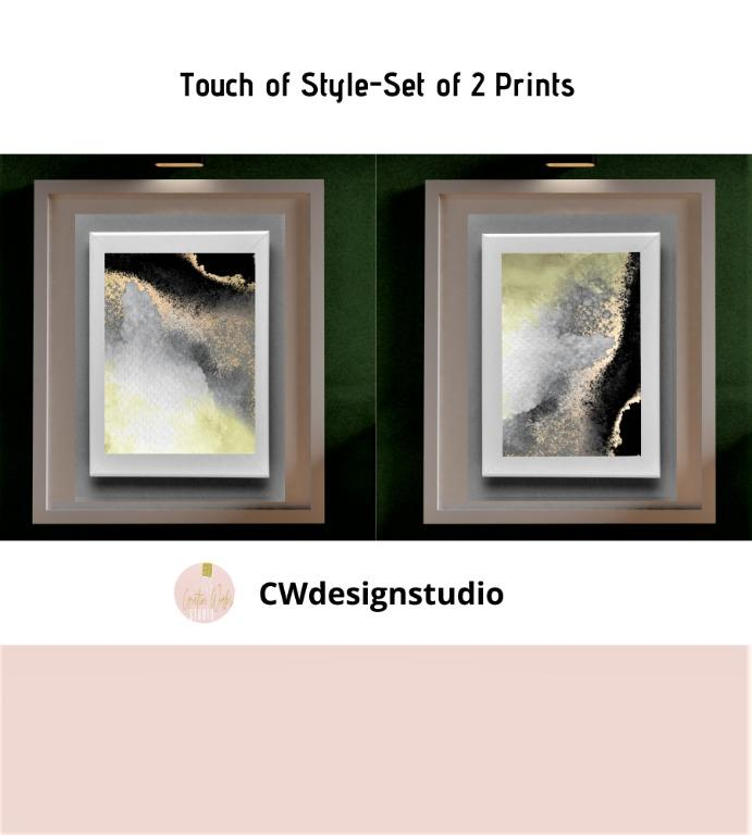 Touch of Style, Set of 2 Prints, Printable Digital File, Wall Art Print and Decor
