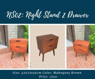 Wooden Night Stand with 2 Drawer