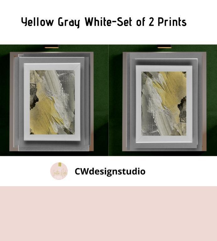 Yellow Gray White Abstract, Set of 2 Prints, Printable Digital File, Wall Art Print and Decor
