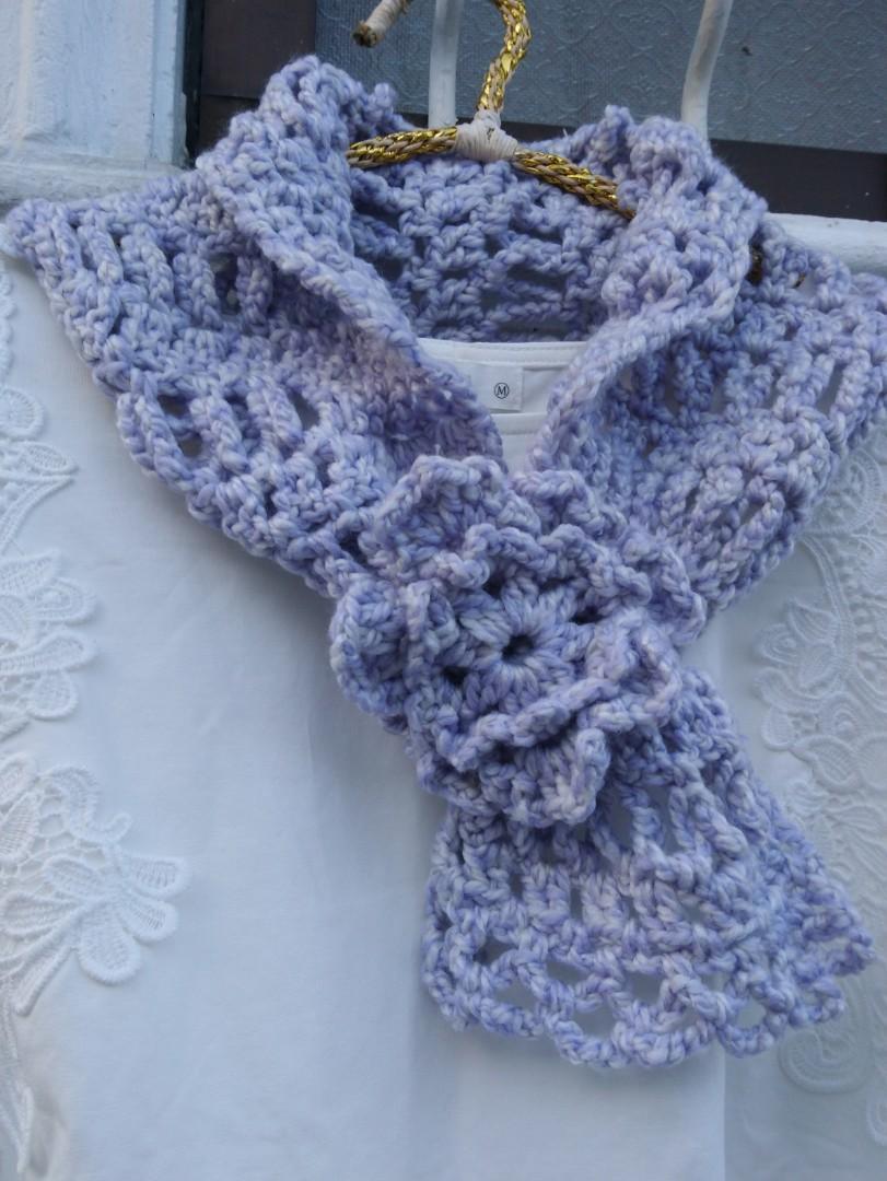 手作花朵穿插式脖圍領巾