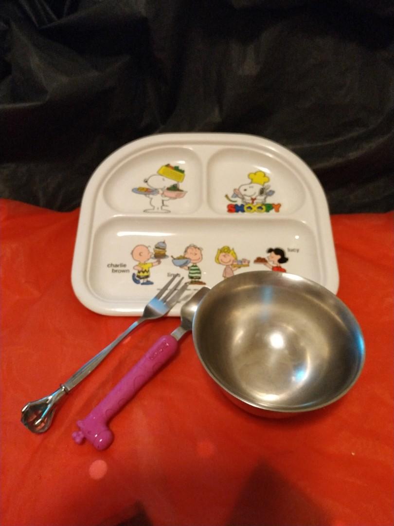 史努比與好朋友/幼童餐盤+碗刀叉