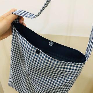 全新藍色格紋背袋🧿👜