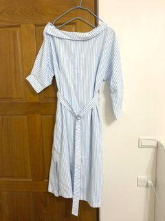 正韓 單肩細條紋側開岔長洋裝