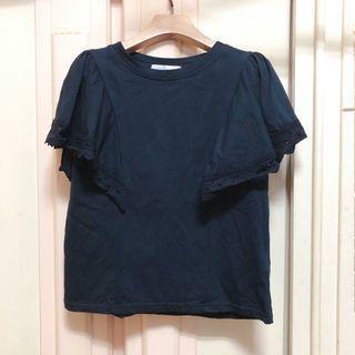正韓 黑色 全棉質 袖蕾絲上衣 #二手價