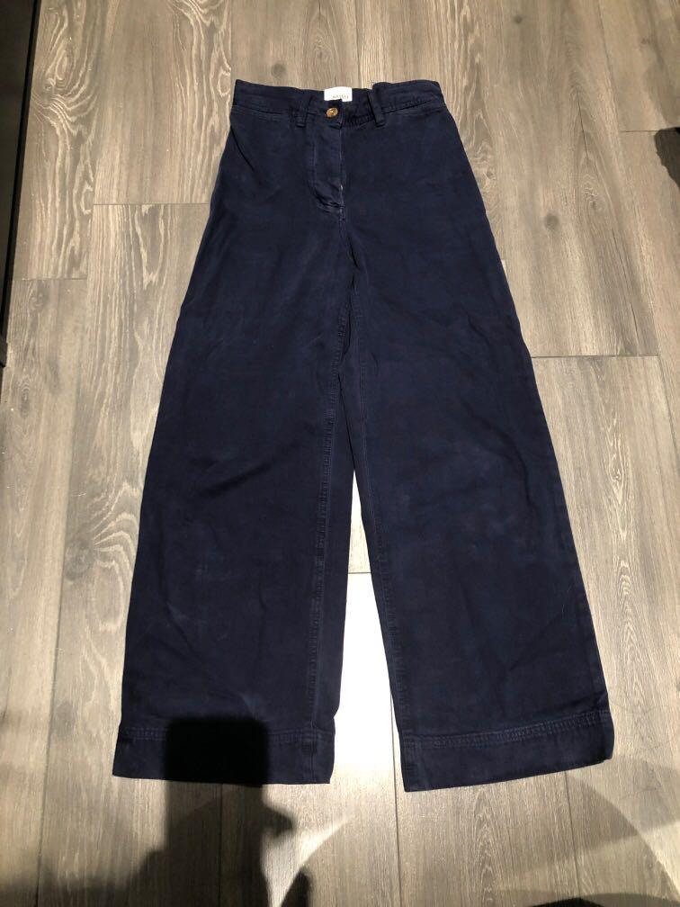 Aritzia Wilfred free cotton wide leg trousers NAVY size 4