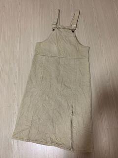 beige overalls skirt/dress