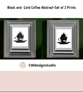Black and Gold Coffee Abstract, Set of 2 Prints, Printable Digital File, Wall Art Print and Decor