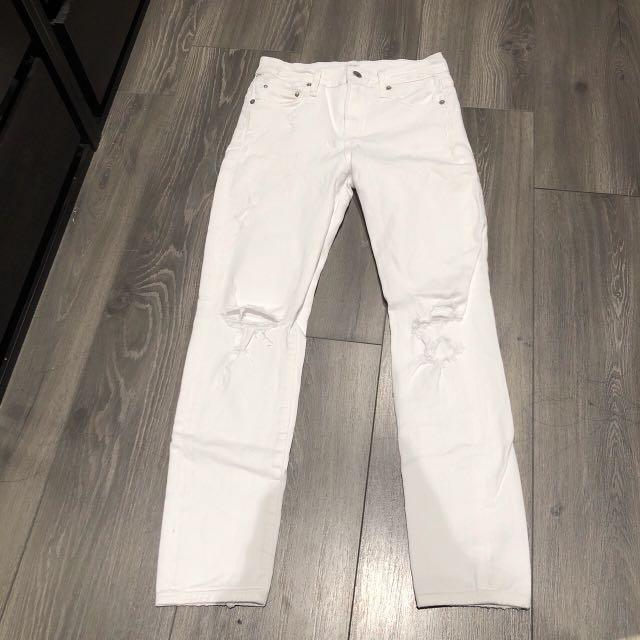 Citizens of humanity high rise cropped skinny WHITE denim size 25