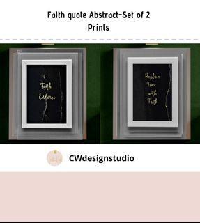 Faith Quote Abstract, Set of 2 Prints, Printable Digital File, Text. Wall Art Print and Decor