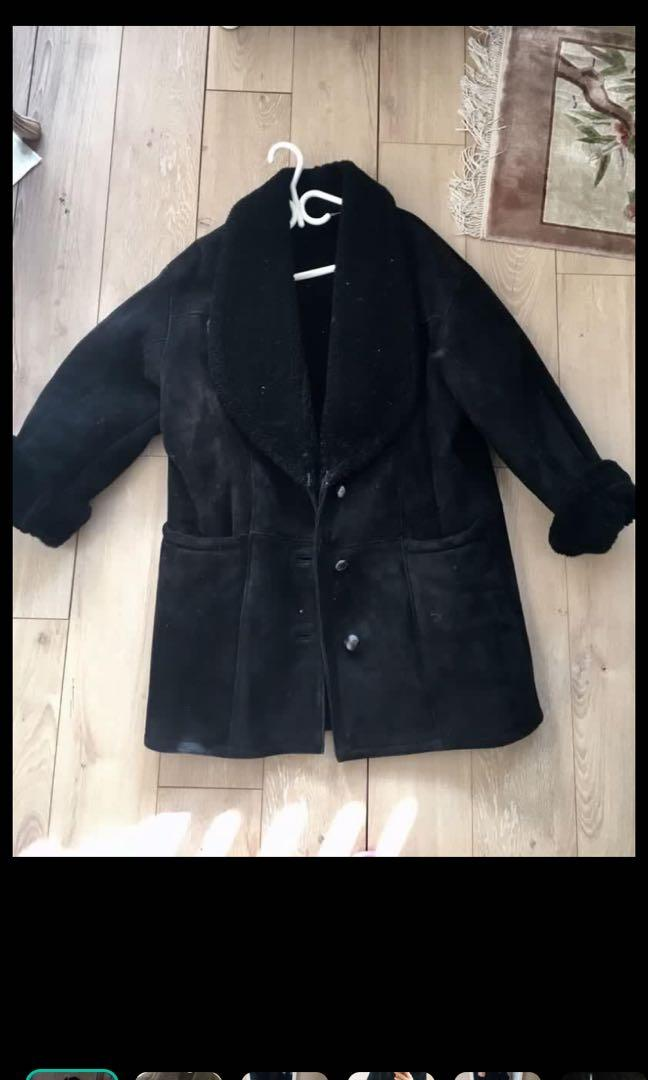 Genuine suede and shearling winter coat