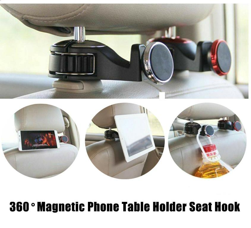 Backseat Auto Hooks for Hanging Purses and Grocery Auto Car Headrest Hanger Car Purse Holder Hook 4 Pieces Leather Car Seat Hooks with 1 pieces Car One-Button Start Ring Car Seat Hanger