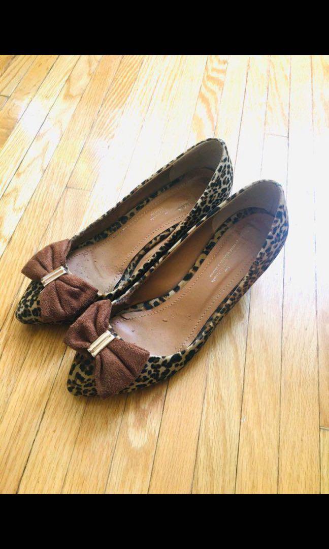 Leopard print kitten heels