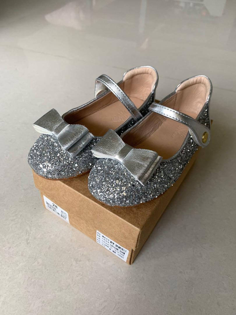 Little Garden 銀色佩妮娃娃鞋 28 畢業典禮 花童鞋