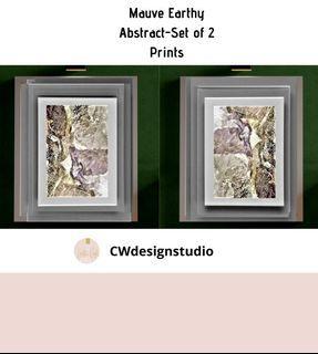 Mauve Earthy Abstract, Set of 2 Prints, Printable Digital File, Wall Art Print and Decor