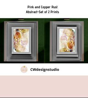 Pink and Copper Rust Abstract, Set of 2 Prints, Printable Digital File, Wall Art Print and Decor