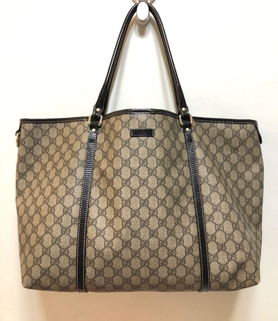 SAuthentic 💯 GUCCI Beige Ebony Patent Leather GG Coated Canvas Large Tote Bag